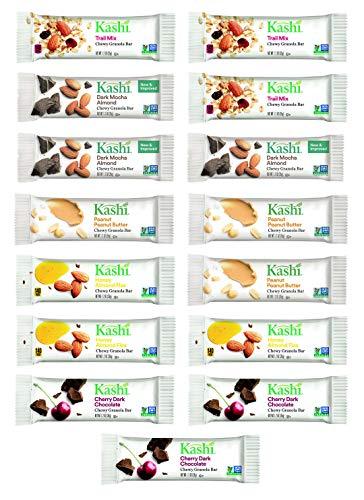 Kashi Bars Variety Gift Box of 15 Bars - Cherry Dark Chocolate, Dark Mocha Almond, Trail Mix, Peanut Peanut Butter, Honey Almond Flax