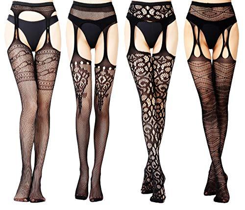 (Charmnight Fishnet Stockings High Waist Suspender Pantyhose Tights for Women(4))