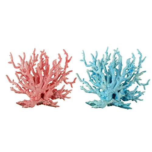 Pawliss Aquarium Decor Fish Tank Decoration Ornament Coral Blue & Pink 2 Pack