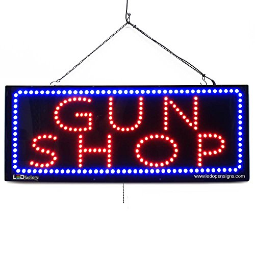 Large LED Window Open Sign - Gun Shop - Extra Bright, Can be seen Through Tinted Windows - 32 inches Wide - ON/Off / Flashing Mode (#2609)
