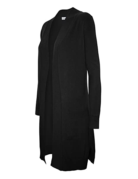 aad425001a1bc6 CIELO Women's Solid Basic Long Open Front Pockets Knit Sweater Cardigan  Black S