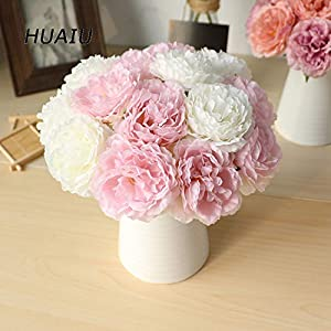 GSD2FF 5 Heads/Bouquet Peony Artificial Flowers Home Decor Silk Peonies Artificial Flowers for Wedding DIY Decoration 66