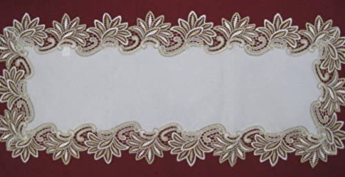 Camino de mesa bordado macramé blanco 40 cm x 90 cm: Amazon ...