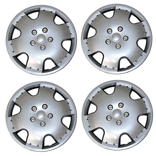 Tuningpros WC3-15-720-S - Pack of 4 Hubcaps - 15-Inches Style 720 Snap-On (Pop-On) Type Metallic Silver Wheel Covers Hub-caps ()
