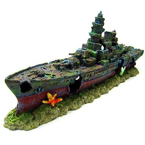 Aquarium Ornament Warship Cave 49cm Battleship ship decoration NAVY by Eramaix