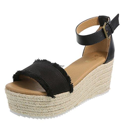 Brash Black Women's Tessa Platform Wedge Sandal 5.5 Regular (Sandals Wedge Espadrille Platform)