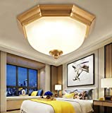 XUEXIN Retro American-style round ceiling lamp for bedroom European-style iron balcony LED ceiling lamp, white light