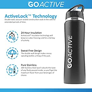 Stainless Steel Insulated Water Bottle with flip straw. H2O Sports drinking bottle is BPA Free, Eco Friendly, Good for Kids, and keeps ice over 24 hour (Black- Powder Coated, 24 oz)