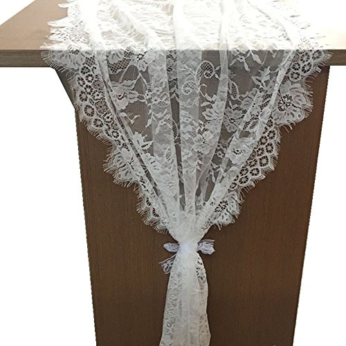Ozxchixu 1 Packs 30 X120 White Classy Lace Table Runner Overlay Spring Summer Decor Rustic Chic Wedding Reception Table Decor Table Runner Boho