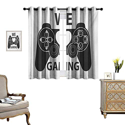 WinfreyDecor Gamer Thermal Insulating Blackout Curtain We Love Gaming Quote Greyscale Controller Design with Heart in The Middle Patterned Drape for Glass Door W72 x L63 Charcoal Grey White