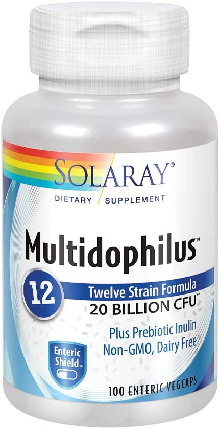 Solaray Multidophilus 12 Strain Probiotic | 20 Billion CFU | Healthy Gut Support | 50 Servings | 100 Enteric VegCaps