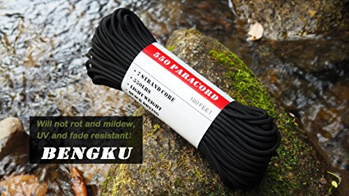 BENGKU Outdoor Survival Mil-SPEC 550lb Paracord/Parachute Cord(MIl-C-5040-H),100Feet,100% Nylon.(Black & Black,200) by BENGKU (Image #2)