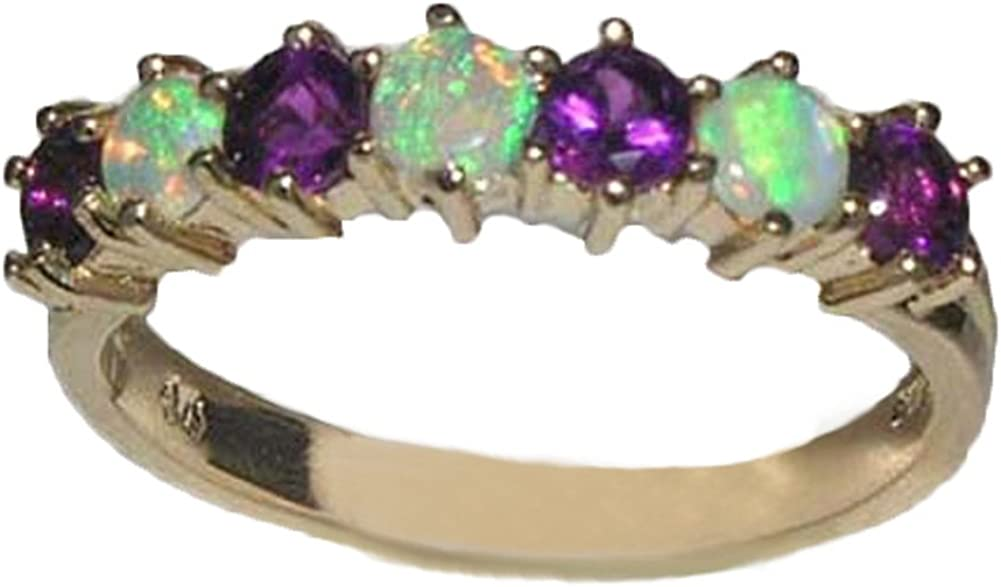 LetsBuyGold 14k Yellow Gold Real Genuine Opal and Amethyst Womens Eternity Ring