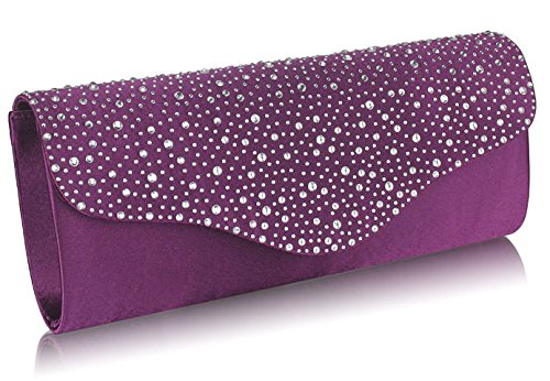 Diamante Design 1 Beaded Women Purple Closure Over Handbag Sparkly Purse Bag Flap Clutch Ladies Evening 7pqr7OS