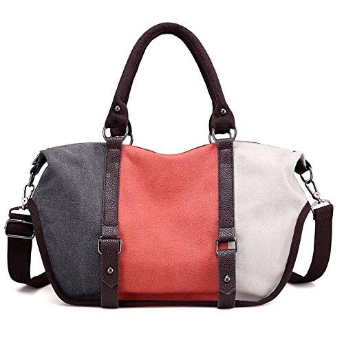 Aoligei Capacité couleur grande collision oblique loisirs cross sac main sacs mode rétro toile coutures arc-en-ciel sac D