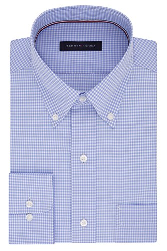 (Tommy Hilfiger Men's Non Iron Regular Fit Gingham Buttondown Collar Dress Shirt, Clear Water, 15.5