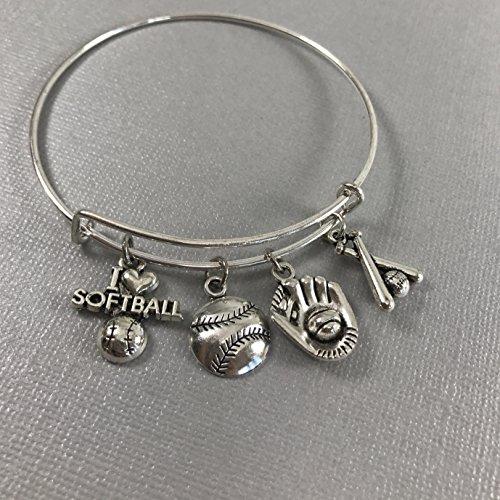 (I love Softball Bracelet Gift for Women)