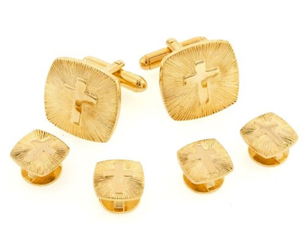 JJ Weston Religious Cross Tuxedo Cufflinks and Shirt Studs. Made in the USA.