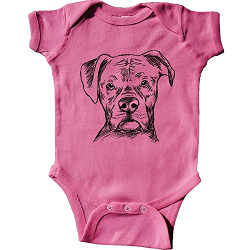 Baby Boxer Dog (inktastic Boxer Sketch Portrait Infant Creeper 6 Months Raspberry)