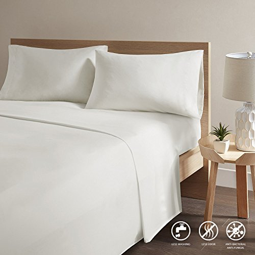 Dryer Infused (Copper Infused Bed Sheets - Ivory Queen Size Sheets Set With Reduce Bacteria Material [ Super Soft and Fade Resistant ] Deep Pocket Fitted Sheet With 1 Fitted Sheet and 2 Pillow Cases)