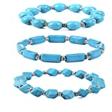 SUNSCSC Handmade Bangle Bracelet Summer Beach Shell Conch Turquoise Pearl Party Jewelry for Women Girls (1 Set Bracelet)
