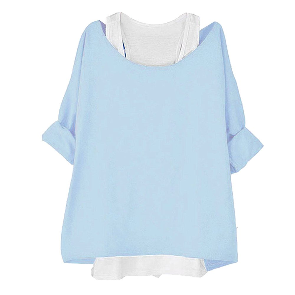 BYEEE  Shop Women's Clearance Sale, Casual Cold Shoulder 3/9 Sleeve Two Pieces Tank Loose Fit T Shirt Blouse Tee Top