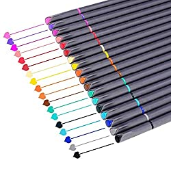 Package included :  18 x Assorted Colors Fineliner Pens    Specifications :  Pen Length:6.2x0.19 inches  Package Dimension: 6.2 x 6.2 x 0.6 inches  Package Weight: 3.5 ounces    0.38mm Fine Point,superfine point,prefect for writing, sketching, mark...