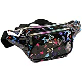 Holographic Fanny Pack for Women - Waist Fanny Pack with Adjustable Belt for Rave, Festival, Travel, Party (Black Butterfly)
