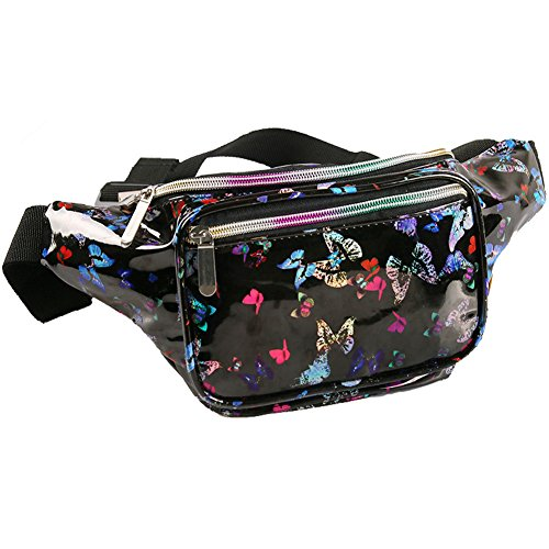 Holographic Fanny Pack for Women - Waist Fanny Pack with Adjustable Belt for Rave, Festival, Travel, Party (Black Butterfly) by Mum's memory