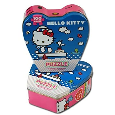 Hello Kitty Jigsaw Puzzle in Heart Shaped Tin, 100-Piece: Toys & Games