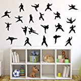 Martial Arts Wall Decal Sticker 24 Set of 21 - Decal Stickers and Mural for Kids Boys Girls Room and Bedroom. Karate Sport Wall Art for Home Decor and Decoration - Martial Art Kung Fu Taekwondo Mural