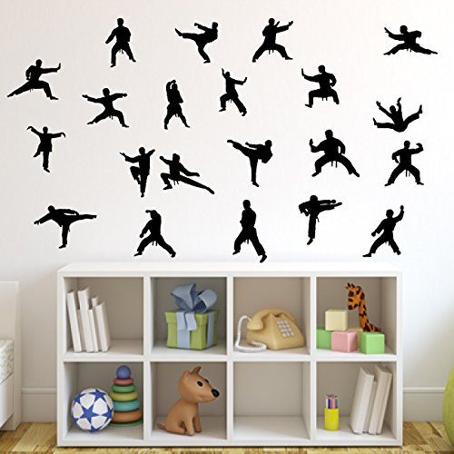Martial Arts Wall Decal Sticker 24 Set of 21 - Decal Stickers and Mural for Kids Boys Girls Room and Bedroom. Karate Sport Wall Art for Home Decor and Decoration - Martial Art Kung Fu Taekwondo Mural (Art Wall Set Silhouette)