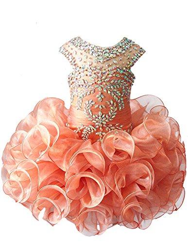 G.CHEN ChengCheng Toddlers Girls Custom Made Pageant Cupcake Dress 2 US Orange -