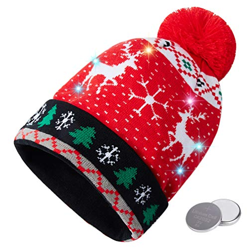 Novelty Christmas Headwear - RAISEVERN Unisex Ugly LED Christmas Beanie