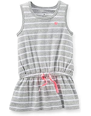 Girls Sleeveless Striped Tunic Top (5 Toddler, Gray)