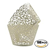 easy bake cupcake wrappers - SUYEPER 100pcs Cupcake Wrappers Artistic Bake Cake Paper Cups Little Vine Lace Laser Cut Liner Baking Cup Muffin Case Trays for Wedding Party Birthday Decoration (Beige)