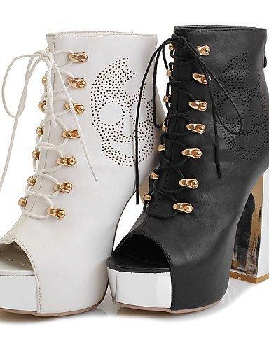 ShangYi Womens Shoes Leatherette Chunky Heel Heels / Peep Toe / Platform Sandals Office & Career / Dress / Casual Black / White White