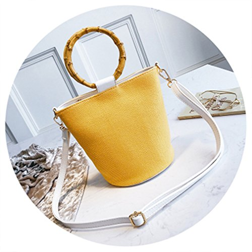 (ULVMHFNH Women Straw Bag Bamboo Handle Beach Bucket Ladies Casual Handbags Crossbody Bag Yellow 20cm-Max Length-30cm)