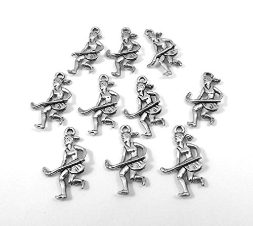 10 Pewter Girl Field Hockey Player Charms - (Hockey Player Charm)