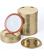 100pcs Regular Mouth Canning Lids, 70mm Mason Jar Canning Lids, Reusable Leak Proof Split-type Silver Lids with Silicone Seals Rings Replace for Ball, Kerr Jars (not include bands)