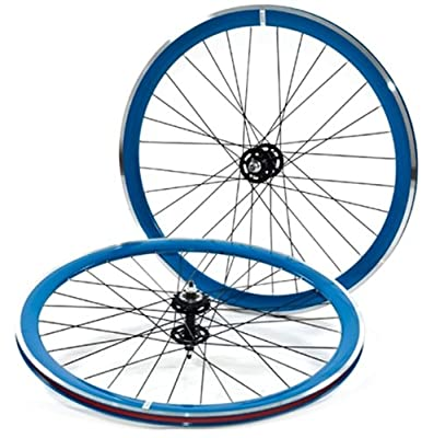 State Bicycle Fixed Gear Deep Profile Wheel Set, 700C, Blue with Black