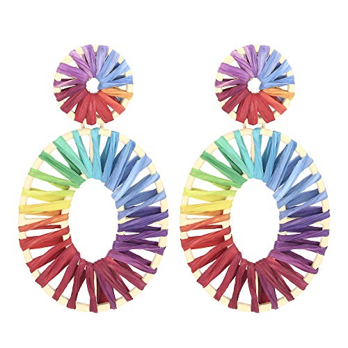 - Rainbow Raffia Statement Earrings Oval Drop Earrings Boho Dangle Geometric Round Earrings for Women Girl Gift Jewelry