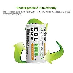 EBL 6 Pack 10,000mAh D Rechargeable Batteries