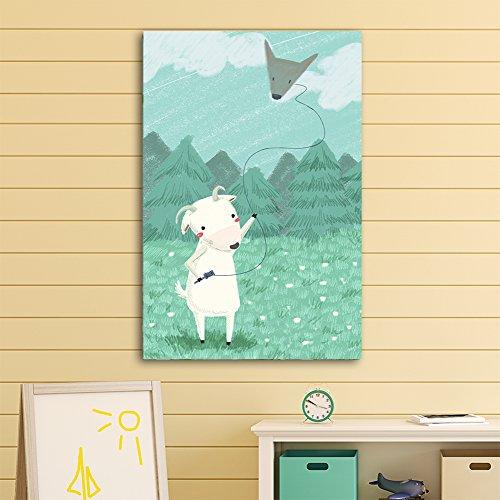 Cute Cartoon Animals A Sheep Flying a Wolf Head Shaped Kite Kid