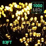Quntis 83Ft 1000 LEDs String Lights - Outdoor & Indoor Waterproof Christmas Decoration Lights 8 Modes Holiday Twinkle Fairy Lights for Home Garden Wedding Party Xmas Tree, UL588 Approved, Warm White