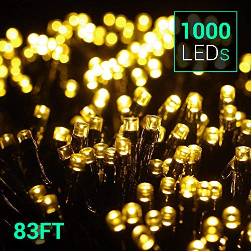 Holiday Decoration Stores (Quntis 83Ft 1000 LEDs String Lights, Waterproof Decorative Lights 8 Modes Twinkle Fairy Lights for Outdoor Garden Halloween Christmas Wedding Party Home Holiday Decoration, UL588 Approved, Warm)