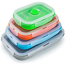 KUUK Collapsible Silicone Food Storage Container - Variety Size, 4 Pack