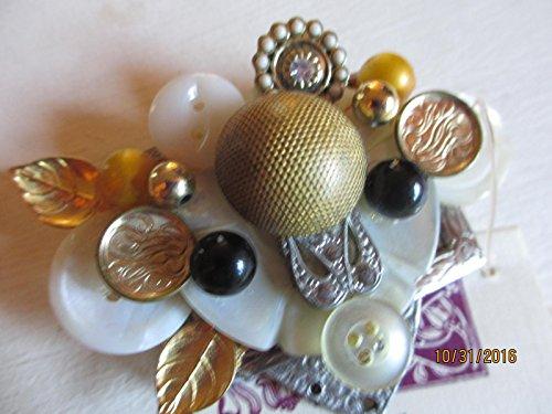 Vintage Botton Pin, Signed KC Botton Rhinestone Corsage Pin, Original Victorian Botton - Rhinestone Earrings Signed