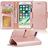 Arae iphone 7 case, iPhone 8 case, PU leather wallet Case with Kickstand and Flip Cover for iPhone 7 (2016)/iPhone 8 (2017) - Rosegold