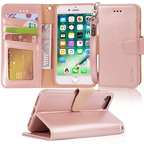 - Arae Case for iPhone 7 / iPhone 8, Premium PU Leather Wallet Case with Kickstand and Flip Cover for iPhone 7 (2016)/iPhone 8 (2017) - Rosegold